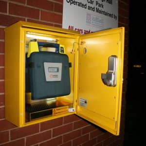 Dorridge Village Hall Turtle defib cabinet