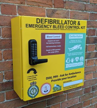 Combined Defibrillator and Emergency Bleed Control Cabinet