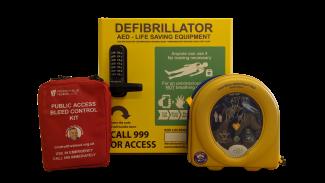 bundle deal, defib, cabinet and bleed kit